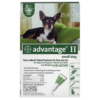 Bayer Advantage II For Dogs 3-10lbs - 6 Pack (US EPA Approved) Free Shipping
