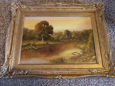 John Hardwicke Lewis Oil Painting / Cattle By The River Early 20Th Century