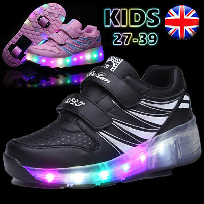 Boys Girls Kids Led Heelys Light Up Shoes Luminous Trainers Sneakers Gift Size
