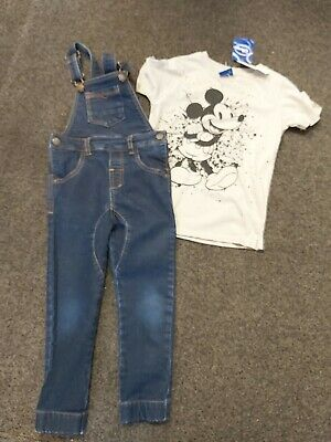 Next Fantastic Boys Skinny Dungarees & River Island Mickey Top Age 3-4 Yrs Bn