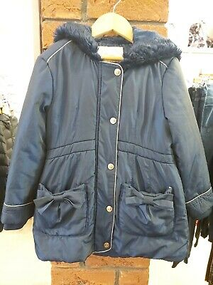 Ted Baker Gorgeous Girls Dark Blue Hooded Winter Coat Age 4-5 Years Vgc