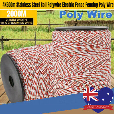 2000m Roll Polywire Electric Fence Rope Fencing Poly Tape Farm Grazing Control.