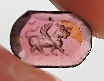 Ancient Excavated Garnet Intaglio Ancient Griffin Gem Carved bead 1500yrs REAL!