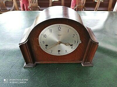 Enfield Smiths Vintage Wooden Mantel Chime Clock  Type Deco, Brass Key