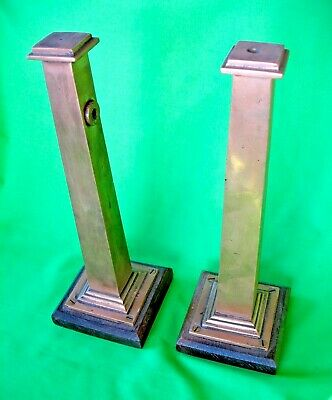 Unusual pair of old antique Bronze pillar stands on Oak bases