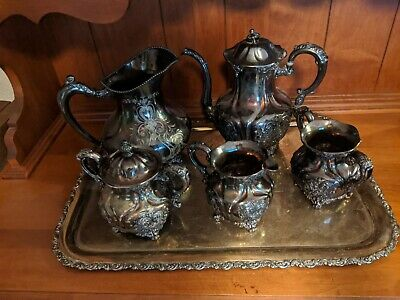 Antique Silverplate 5- Piece Tea Set with Tray, Meriden #2036