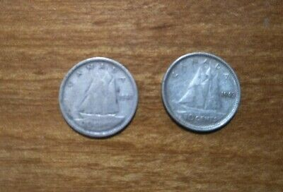 Rare! Old! 2 X Canada Ww2 1940 & 1943  Silver Ten (10) Cent Coin!