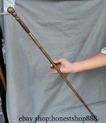 """35.2"""" Collect Old Chinese Copper Skull Head skeleton Palace Walking Stick Crutch"""