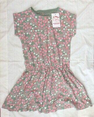 New Verbaudet Girls Dress Green Grey With Pink & White Butterfly Pattern 8 Years