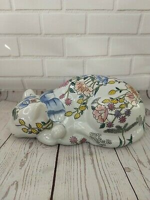 Vintage Chinese Famille Rose Hand Painted Floral Sleeping Cat 4t X 10L