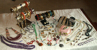 Huge Vintage Estate Jewely Lot All Wearable With Vintage Black Clutch / Purse