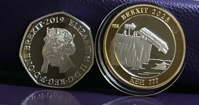 BREXIT 50p and NEW RELEASE BORIS BUS £2 Shaped Coin Bu Medal Original Design