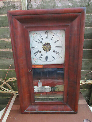 Antique American Weight Driven Ogee Kipper Box Clock for Restoration