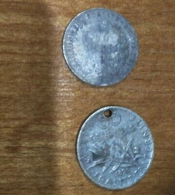 Rare 2 X France Silver 1888 & 1898 50 Centimes Half 1/2 French Franc Coins
