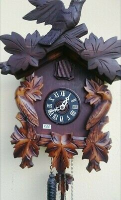 Antique Cuckoo Clock Large Hand Carved Black Forest Working