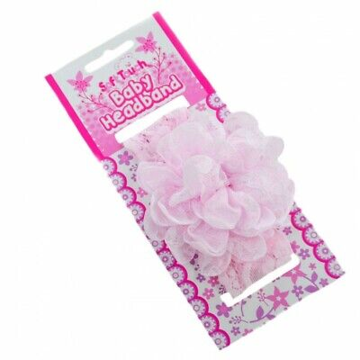 Baby Girls Soft Touch Lace Headband with Lace Flower 0-6 month PINK WHITE