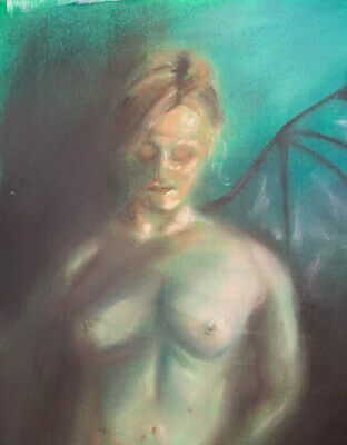 Original Nude Woman Painting Expressive Angel Demon Contemporary Art Signed