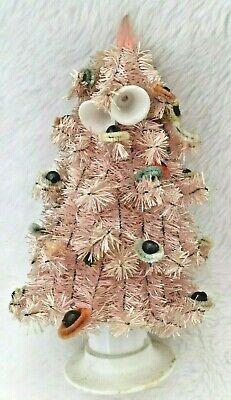 RARE SMALL PINK BOTTLE Brush VINTAGE CHRISTMAS Tree Mercury GLASS Beads 7""