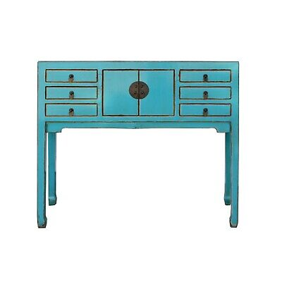 Chinese Oriental Rustic Blue Lacquer Drawers Slim Side Table cs5407
