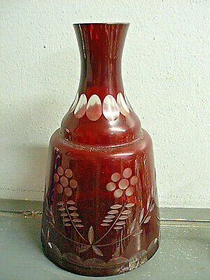 Vintage Bohemian Czech Ruby Red Cut To Clear Glass Decanter Bottle Vase