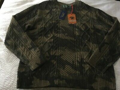 POLO COUNTRY by RALPH LAUREN Green Camouflage Wool SWEATER sz XL NWT Ret $298