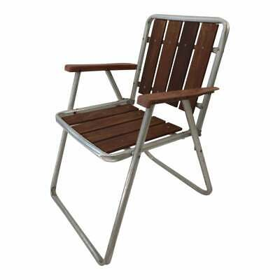 Vintage REDWOOD FOLDING CHAIR metal wood slat seat patio lawn porch mid century