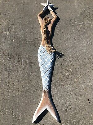 "32"" Mermaid Wall Hanging Hand Carved Wood Tropical Sculpture Decor"