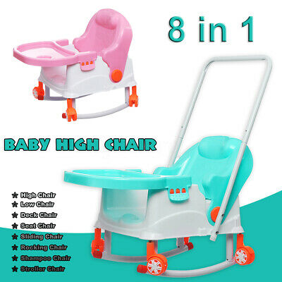 8 in 1 Baby High Chair Convertible Play Table Seat Booster Toddler Feeding