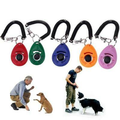 Pet Dog & Cat Training Clicker Puppy Button Click Trainer Obedience+Wrist Strap.