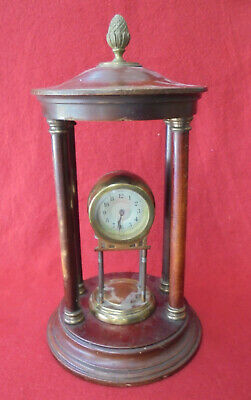 Antique Mahogany Finish German Bandstand With Brass Case Tholos Mechanical Clock