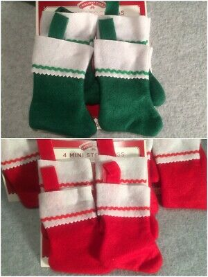 "12 Mini 4"" Christmas Stockings Red or Green Gift Card Holder / Treat Sack New"