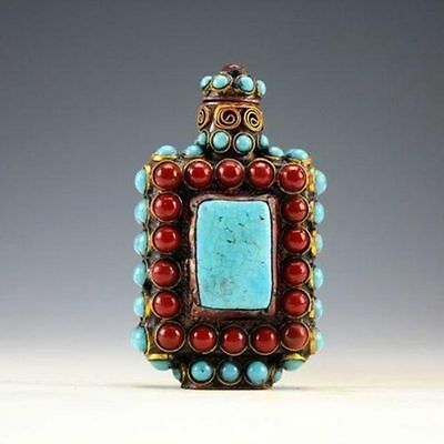 Chinese Old Tibet Silver Cloisonne beads beautiful turquoise snuff bottle  FF