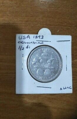 Rare First 1893 Usa Columbia Exposition Commemorative Silver Half Dollar Coin