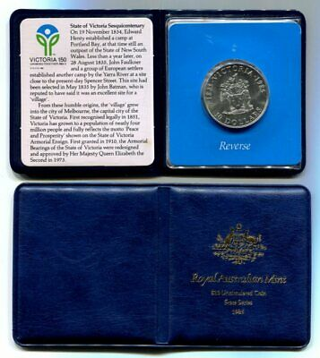 1985 Victoria State Series $10 Sterling Silver Coin - in RAM Presentation Wallet