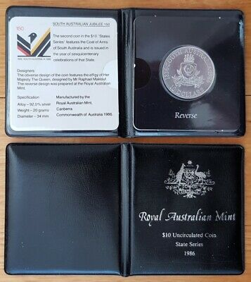 1986 S.A. State Series $10 Sterling Silver Coin - in RAM Presentation Wallet