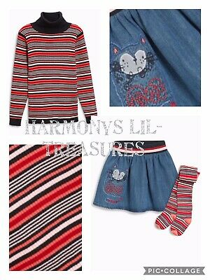 BNWT Girls NEXT CAT CHARACTER SKIRT & TIGHTS SET & MATCHING JUMPER.AGE 2/3 YRS