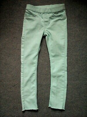 "H&M girls light blue stretchy skinny trousers treggings age 4-5 years, 18"" L"