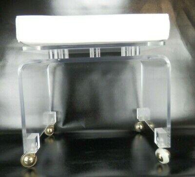 Vintage MCM Clear Lucite Vanity Stool Bench Ottoman w/ Vinyl Upholstered Top
