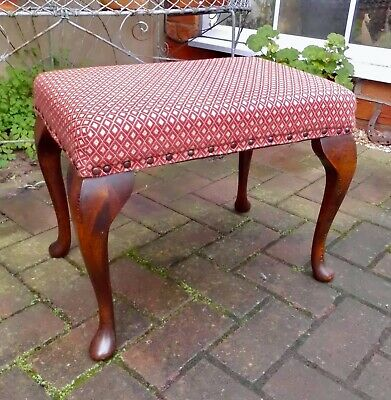 RECTANGULAR VINTAGE FOOTSTOOL OR SMALL TABLE ON OAK CABRIOLE SUPPORTS, 38cm HIGH