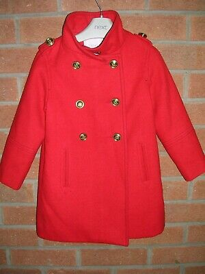 NEXT Girls RED Faux Wool Military Style Smart Coat Jacket Age 4 104cm
