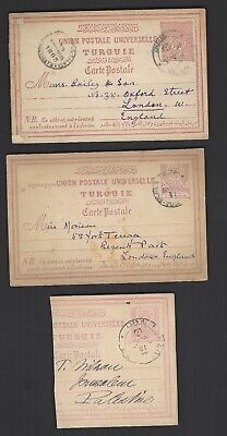 Turkey 1892 and 1893 stationery post cards used to UK also piece to Jerusalem
