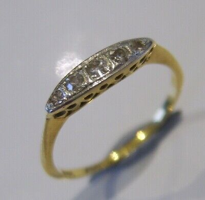 Beautiful Art Deco Antique 18Ct Gold Diamond Ring Platinum Set