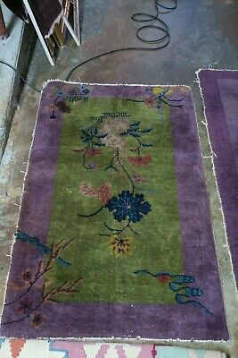 Antique Art Deco Chinese Rug 2'8 x 4'6 Hand Knotted Wool Green / Purple