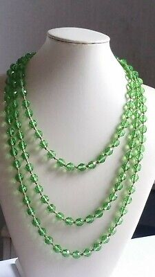 Czech Vintage Art Deco Hand Knotted Green Faceted Glass Bead Flapper Necklace