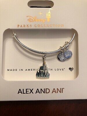 Disney Alex And Ani 2020 Cinderella Castle Silver bracelet Bangle New