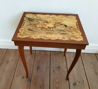 Italian Vintage Large Inlaid Wooden Music Box Table Come back to Sorrento