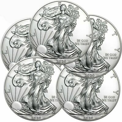 (5) 2020 American Eagle Coins 1 oz .999 Fine Silver (Lot of 5)