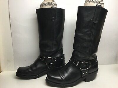 Vtg Mens Double-H Harness Motorcycle Black Boots Size 8 D