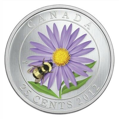 CANADA 25 Cents 2012 BU 'Flower & Fauna - Aster and Bumble Bee'