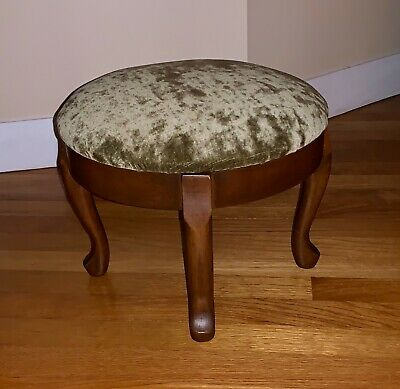 Vintage Queen Anne Style Round Wooden Footstool With Velvet Upholstery